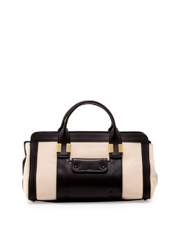 Chloe Alice Colorblock Medium Satchel Bag, Husky White/Black