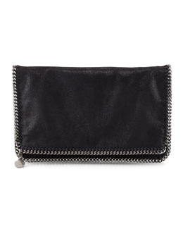 Stella McCartney Faux Leather Falabella Fold-Over Clutch Bag, Black