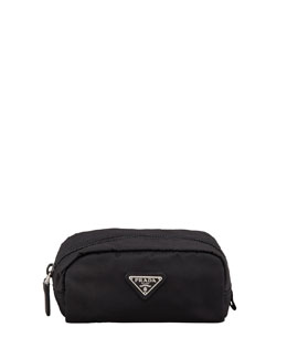 Prada Vela Nylon Cosmetic Case, Black (Nero)