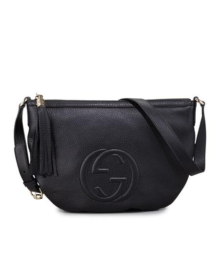 Soho Leather Messenger Bag Bag, Black