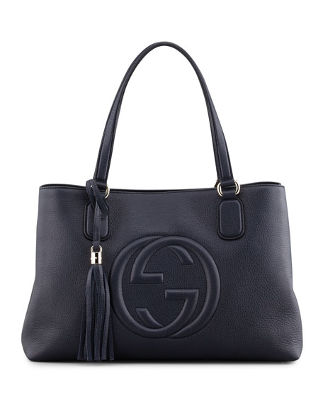 Soho Leather Working Tote Bag, Dark Navy
