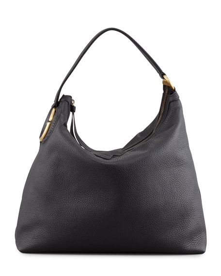 Twill Leather Large Hobo Bag, Black