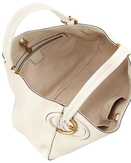 Twill Leather Large Shoulder Bag, Mystic White