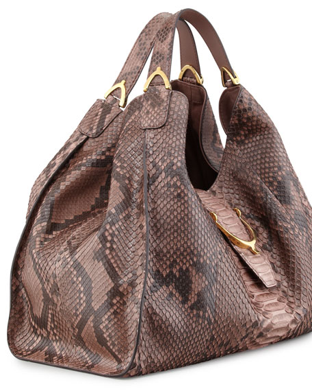 Soft Stirrup Python Shoulder Bag, Pink/Tan
