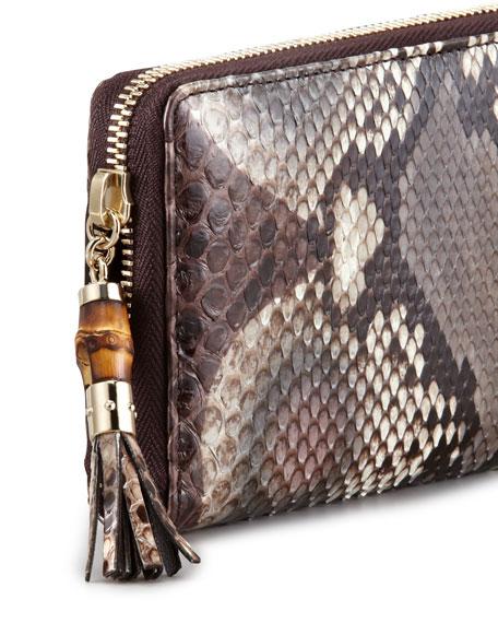 Python Continental Zip Wallet, Rose/Brown