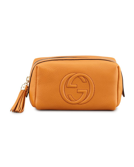 Soho Medium Leather Cosmetics Case, Orange