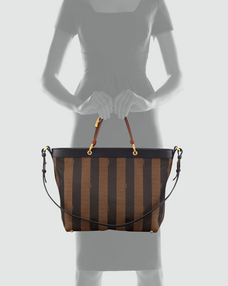 Pequin Striped Shoulder Tote Bag, Tobacco Black/Brown