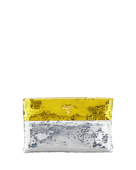 Bicolor Sequined Pouch Clutch Bag, Gold/Silver