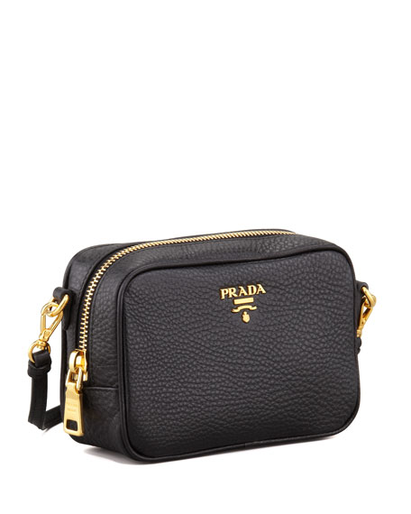 Mini Zip-Top Crossbody Bag, Black (Nero)
