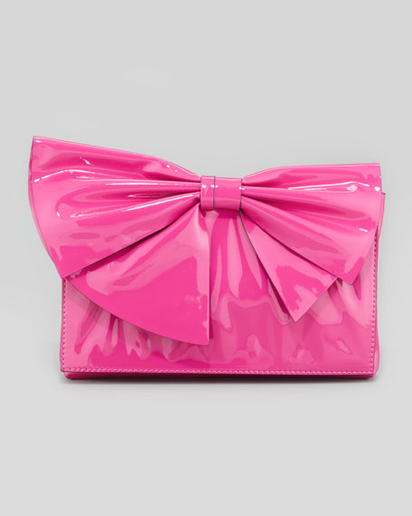 Neat Lacquered Bow Clutch Bag, Pop Fuchsia