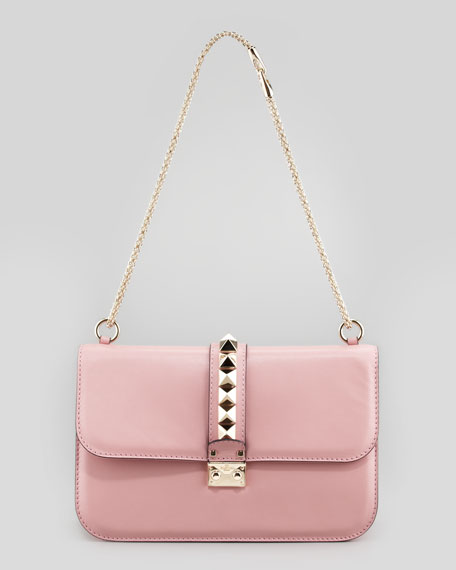 Grande Rockstud-Flap Shoulder Bag, Pink