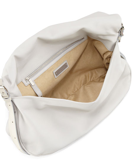 Biker Saddle Chain Shoulder Bag, Pearl Gray