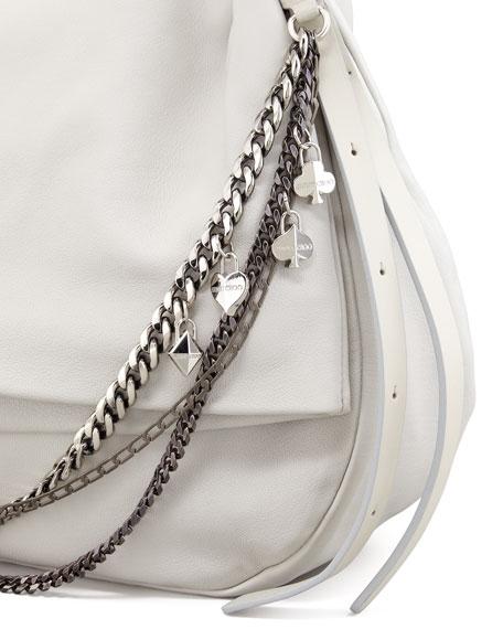 Biker Saddle Chain Shoulder Bag, Pearl Gray