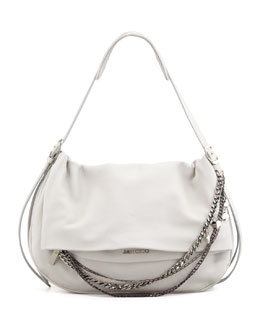 Jimmy Choo Biker Large Saddle Chain Shoulder Bag, Pearl Gray