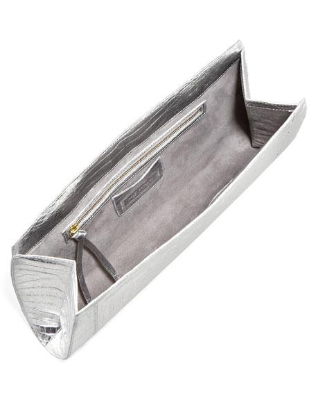 Metallic Crocodile Slicer Clutch Bag, Silver