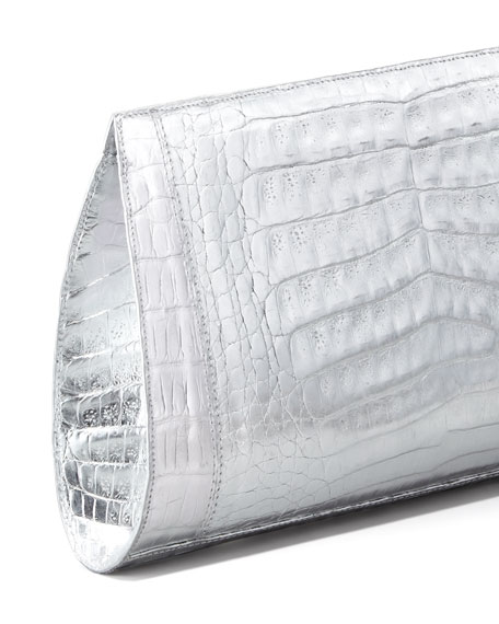 Metallic Crocodile Slicer Clutch Bag, Silver