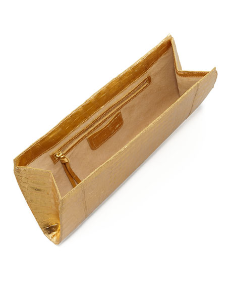 Crocodile Slicer Clutch Bag, Gold