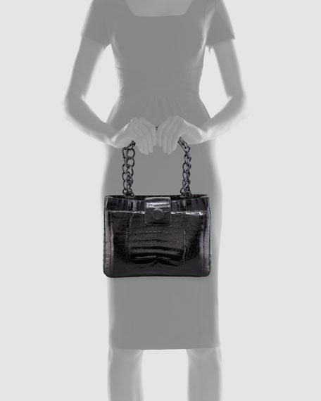 Small Chain Crocodile Tote Bag, Black