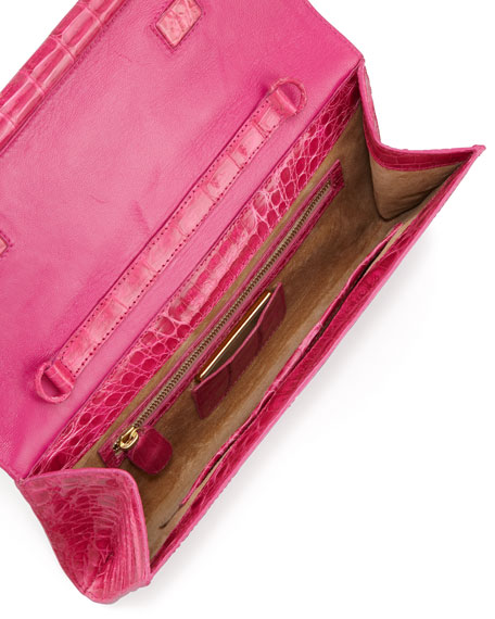 Front-Flap Crocodile Bar Small Clutch Bag, Fuchsia