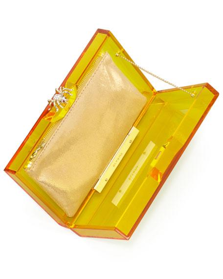 Pandora Spider Box Clutch, Yellow