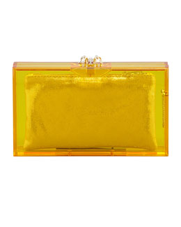 Charlotte Olympia Pandora Spider Box Clutch, Yellow