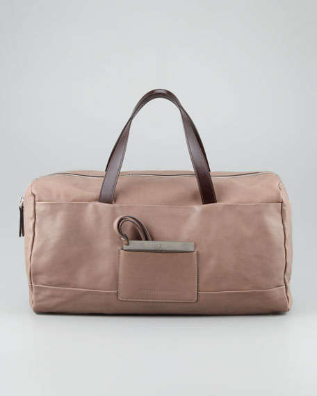 East-West Pocket Leather Tote Bag, Cocoa