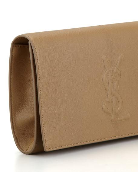 Belle De Jour Large Leather Clutch Bag, Beige