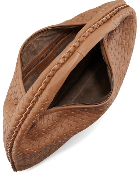 Woven Leather Hobo, Hazelnut Brown