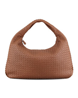 Bottega Veneta Woven Large Leather Hobo, Hazelnut Brown