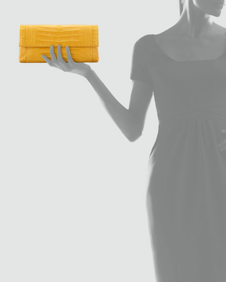 Soft Flap Crocodile Medium Clutch Bag, Marigold