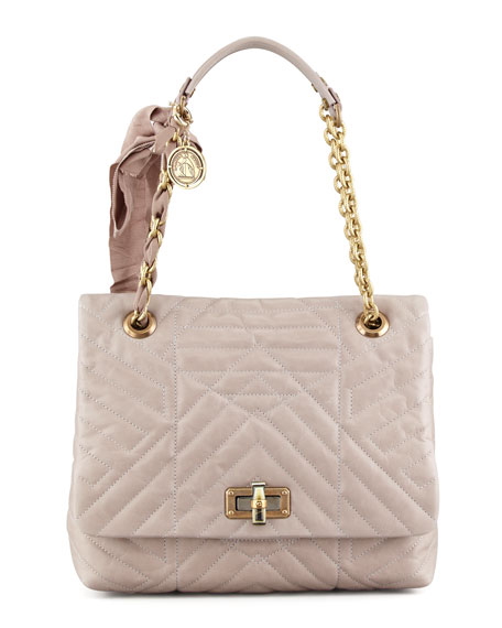 Happy Quilted Leather Medium Shoulder Bag, Pearl Gray