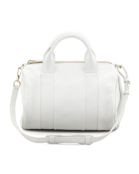 Rocco Stud-Bottom Satchel Duffel Bag, White