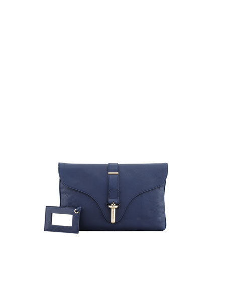 Tube-Clasp Clutch Bag, Baltic Bleu