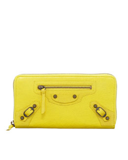 Balenciaga Classic Continental Zip Wallet, Curry