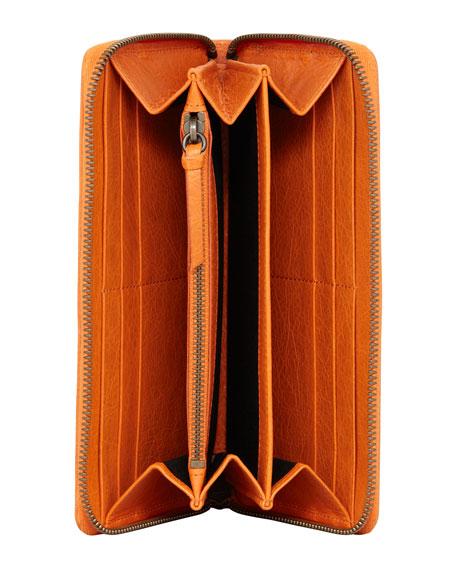 Classic Continental Zip Wallet, Tangerine
