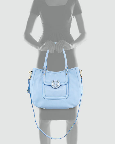 Amanda Patent Classic Hobo Bag, Light Blue
