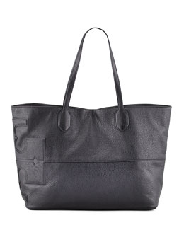 Tory Burch East-West Stacked Logo Tote Bag, Black
