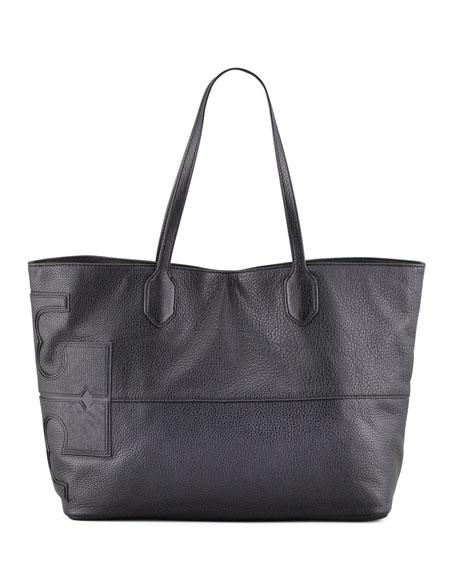 East-West Stacked Logo Tote Bag, Black