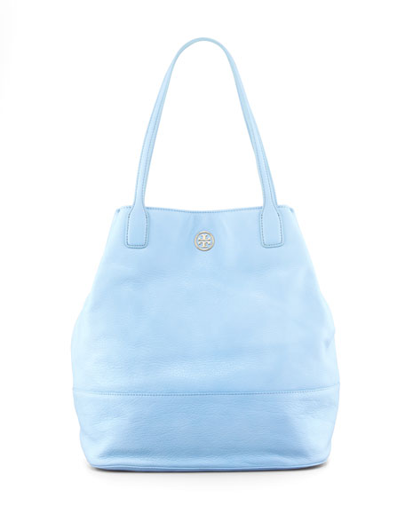 Michelle Pebbled Leather Tote Bag, Light Blue