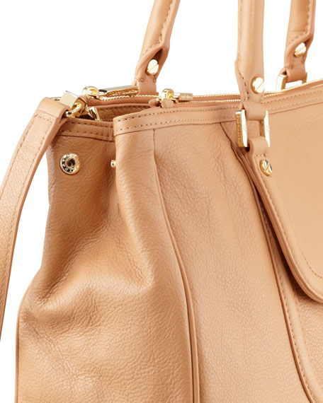 Amanda Double-Zip Tote Bag, Tan
