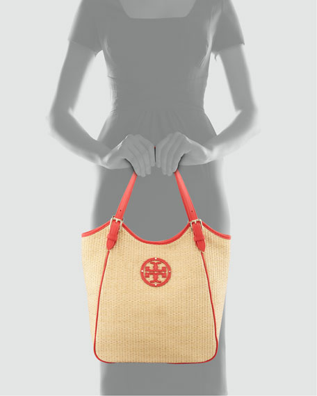 Small Slouchy Straw Tote Bag, Natural/Poppy