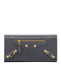 Balenciaga Giant Golden Money Wallet, Gris Tarmac