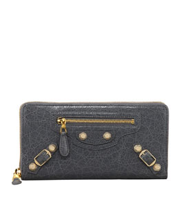 Balenciaga Giant Golden Continental Zip Wallet, Gris Tarmac