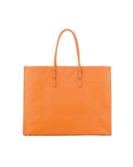 Papier A4 Leather Tote Bag, Tangerine