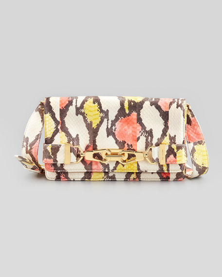Shannon Convertible Snake Clutch Bag, Watercolor
