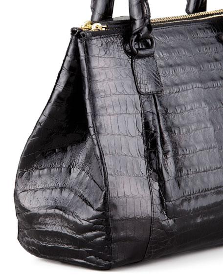 Mini Double-Zip Crocodile Tote Bag, Black