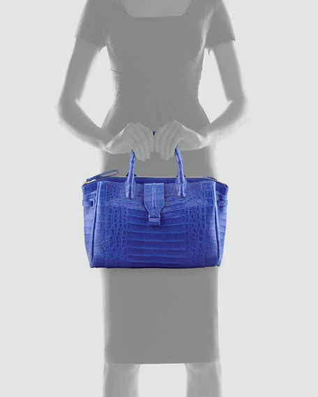 Cristina Crocodile Shoulder Tote Bag, Electric Blue