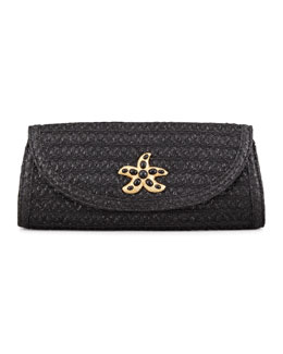 Eric Javits Paradise Woven Clutch Bag, Black