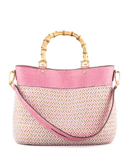 Eric Javits Analu Squishee Tote Bag, White/Pink Mix