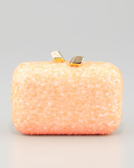 Margo Sequined Minaudiere, Coral